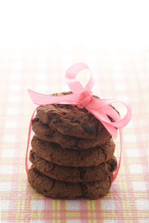 Chocolate Cookies and Pink Ribbon photo