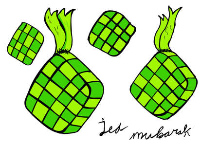 Ketupat, indonesia traditional food Vector