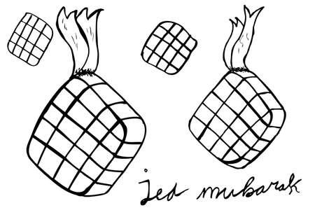 Ketupat, 인도네시아 전통 음식 일러스트