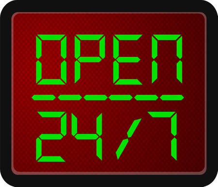 24 hour: Sign Open 24 Hour 7 day a week Stock Photo