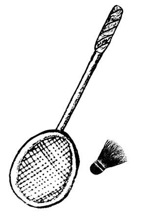 doodle Shuttle Cock and racket Stock Photo