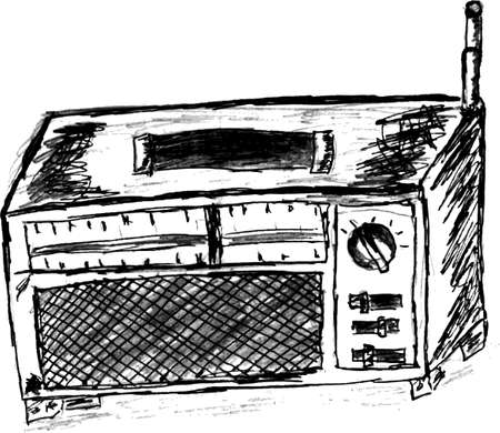 transistor: bosquejo drenaje de la mano, radio transistor