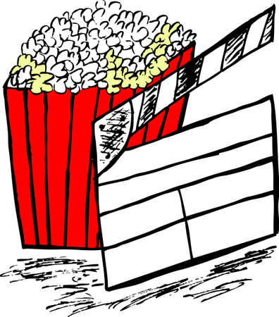 overflowing: doodle pop corn and clapper Illustration