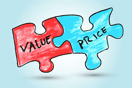 hand draw sketch,Value and price words written on two pieces of jigsaw puzzle Vector