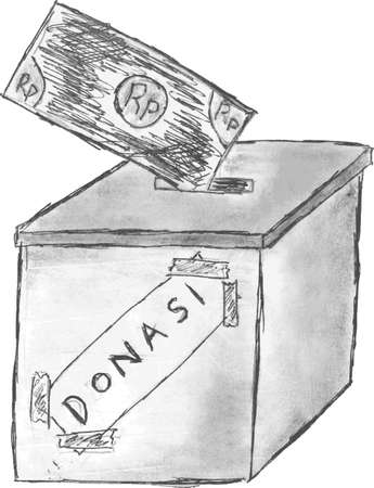 hand draw sketch, Donation Box Vector