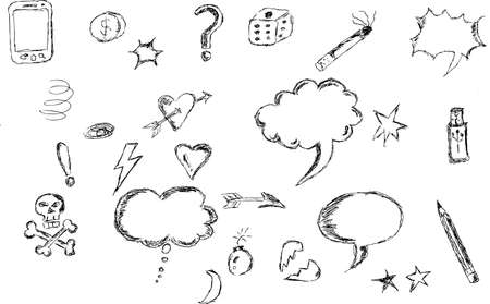 hand draw Sketch, blue Bubble Talk Vector