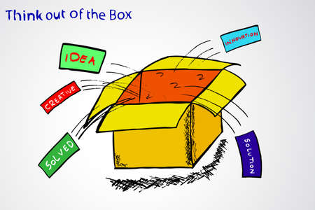 idealism: Think out of the Box Illustration
