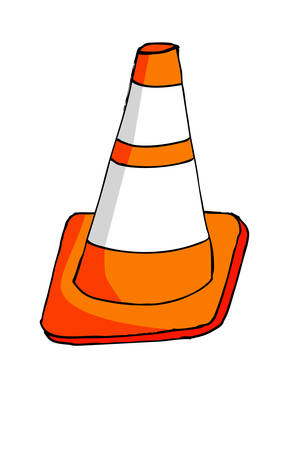bollard: Doodle Traffic Cone Illustration