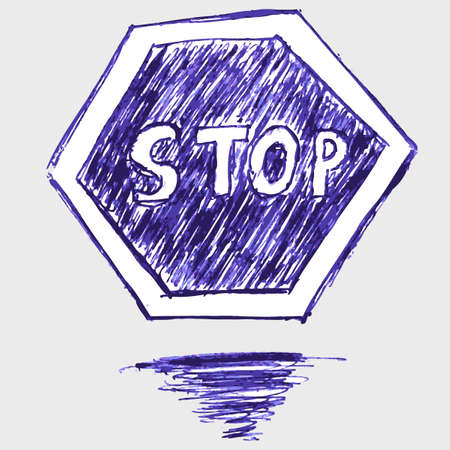 doodle traffic sign, stop