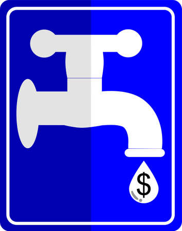 Water tap dropping dollar Vector
