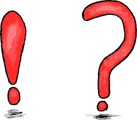 interrogation point: hand draw sketch, Question and Exclamation mark Illustration