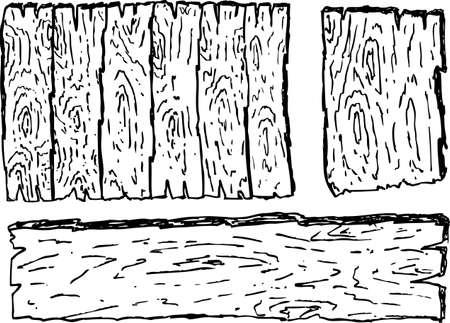wooden fence: Set of wooden box doodles