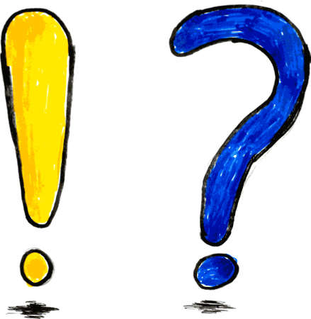 doodle Blue Exclamation and Yellow Question Mark Illustration