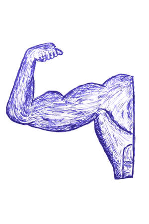 clench: Hand Draw Sketch of Muscle Man Stock Photo