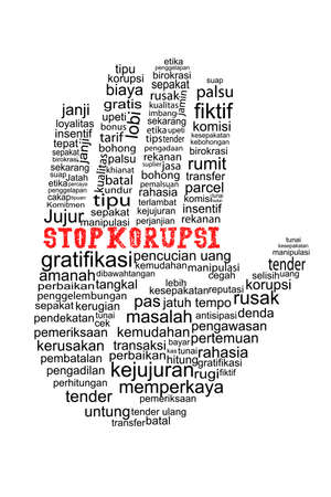Hand with Stop Corruption text in indonesia languange photo
