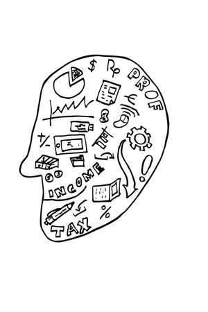Accounting Symbol at Head Stock Photo
