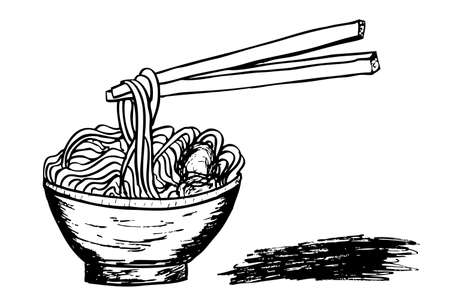 doodle Noodle at bowl and stick photo