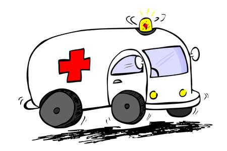 Hand draw sketch, ambulance photo