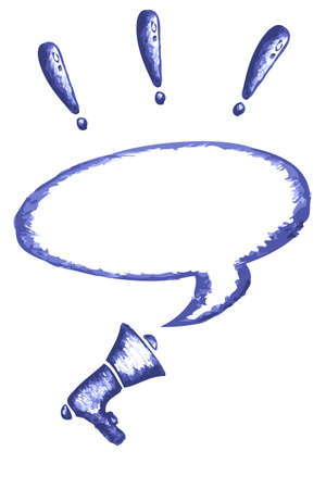 Megaphone, Exclamation Mark and Bubble Talk photo
