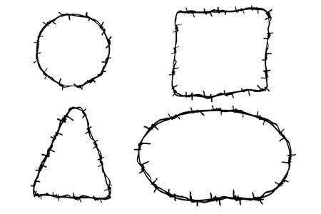4 つの有刺鉄線の手描きスケッチ 写真素材