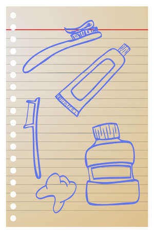 tooth paste: doodle Tooth paste, tooth brush and tooth Stock Photo