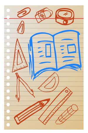 hand draw sketch, school stuff