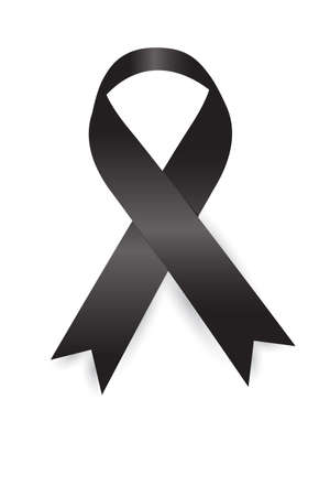 Black Ribbon on white background Banque d'images