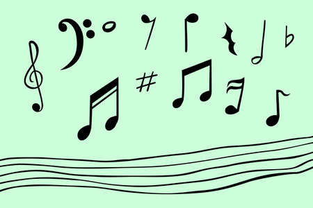 crotchets: Hand draw sketch of musical note Stock Photo