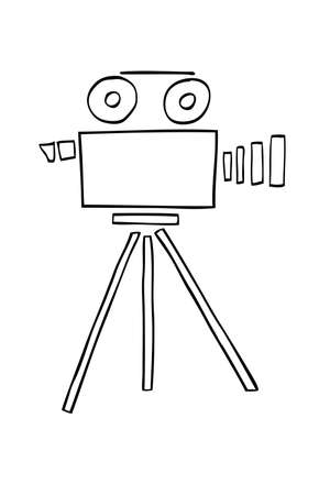 journalistic: Hand Draw sketch of Video Camera