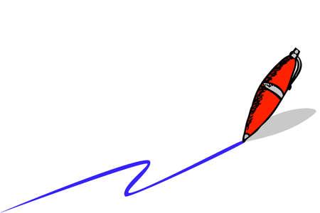 hand draw sketch Pen and Blue Streak Stock Photo
