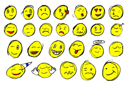 iconography: hand draw sketch, emoticon