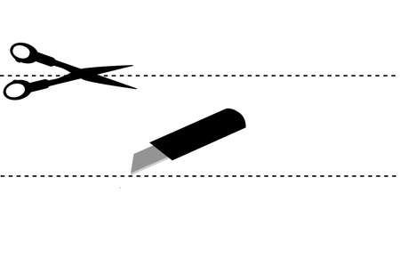 simple sign, Scissor, cut here photo