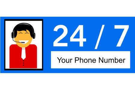24 hour: sign of man 24 hour Call Center Illustration