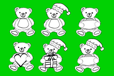 tender: set of black and white Teddy Bear at green background