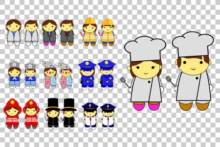 cheff: Toddler in various Professional uniform, at transparent effect background