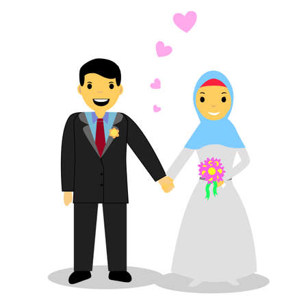 bride and groom illustration: Muslim and Muslimah bride couple Illustration