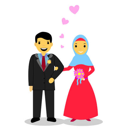 Muslim and Muslimah bride couple Vettoriali
