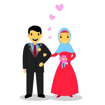 muslimah: Muslim and Muslimah bride couple Illustration
