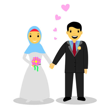 hand holding flower: Muslim and Muslimah bride couple Illustration