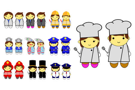 cheff: Toddler in various Professional uniform Illustration