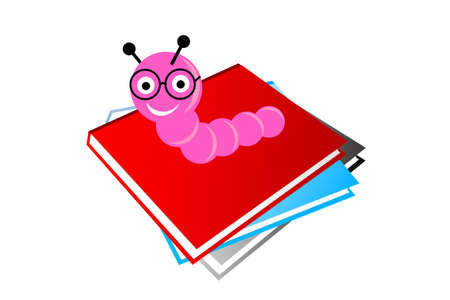 Baby Book Worm isolated on white