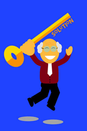 jumping old man holding a key, illustration for finding the solution Stock Photo