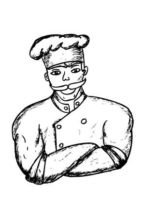 Hand Draw Sketch of muscle Chef