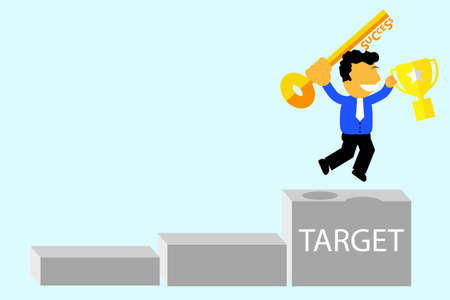 jumping man, Happy because of achieve his Target Stock Photo