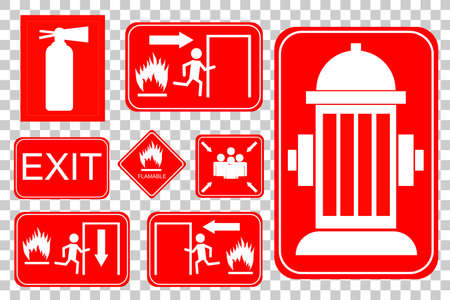 set of fire accident sign at transparent effect background Imagens