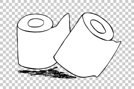 paper roll: hand draw sketch of Tissue Paper Roll Stock Photo