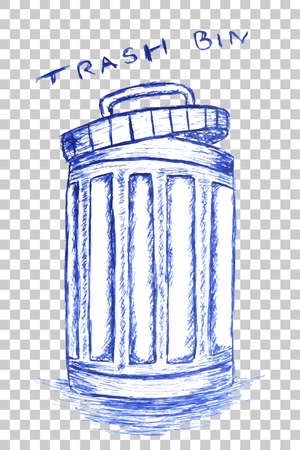 wastage: hand draw sketch, clean trash bin Stock Photo