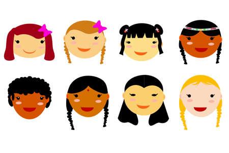 biracial: Doodle Young Women Face Stock Photo