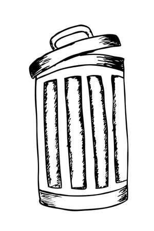 trash can: hand draw sketch, trash bin