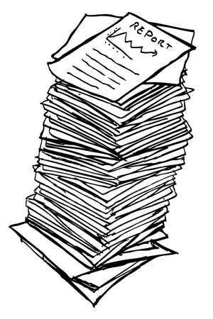 Stapel papier, geïsoleerd op wit